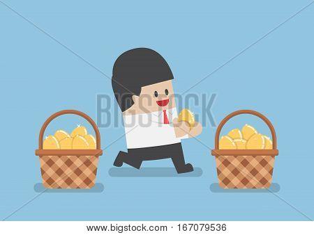 Businessman Put Golden Egg In Different Basket
