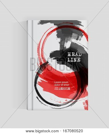 Black red abstract design. Ink paint on brochure Monochrome element isolated on white. Grunge banner paints. Simple composition. Liquid ink. Background for banner card poster identityweb design.