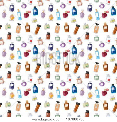 Vector perfume fashion container seamless pattern smell spray bottle template. Shop symbols elegant merchandise gift background. Beauty liquid luxury fragrance aroma.