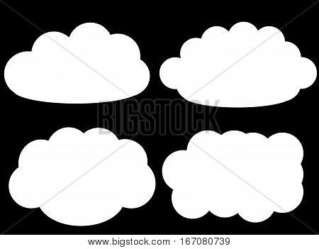 Cloud vector icons isolated over black background cloud shapes vector illustration set. Weather forecast fluffy clouds drawing