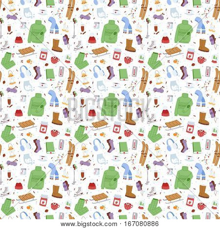 Winter icons seamless pattern christmas season patch elements. Season decoration cold time sport leisure. Vector seasonal pastime holiday skate symbols.