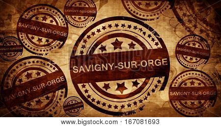 savigny-sur-ogre, vintage stamp on paper background