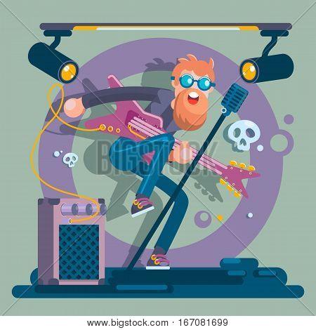 Bass Guitarist Rock Band Member Funny Character.Vector Illustration