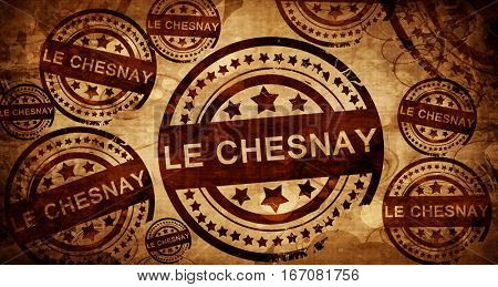le chesnay, vintage stamp on paper background