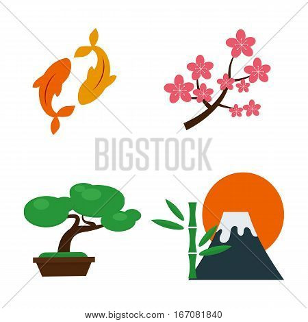 Volcano and japan landmark travel icons magma nature blowing up with smoke vector isolated. Crater mountain hot natural eruption. Erupt ash fire hill landscape outdoor geology exploding ash.