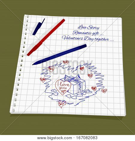 Love Story - gift for a loved one. Vector illustration box with gift and love note. Cute Romantic simple drawing a red and blue ballpoint pen on squared paper - box with a bow and a sticker in the form of heart with the words I love you