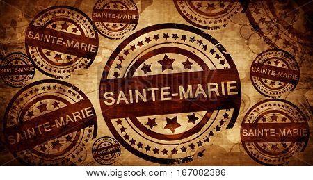 sainte-marie, vintage stamp on paper background
