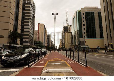 SAO PAULO, BRAZIL - CIRCA JAN 2017: Paulista Avenue in Sao Paulo, Brazil