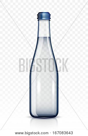 Glass bottle of water  isolated on white background
