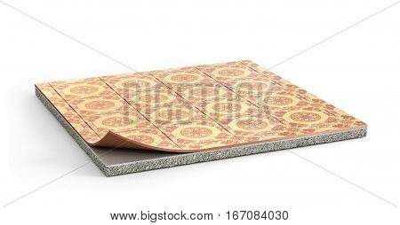 Piece of floor with linoleum coating. Flooring Installation. 3d illustration