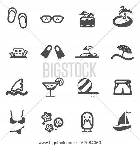 beach summer sea line flat icon set vector