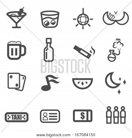 night life drink club icon vector ,