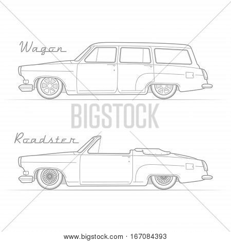 Two isolated lowrider retro cars in silhouette line style with sample text. Wagon and cabrio. Typical lowered vintage vehicle. Custom car vector stock image.