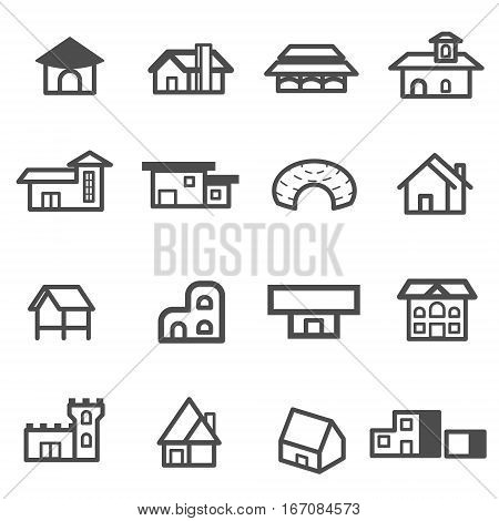 house home residential line icon set vector