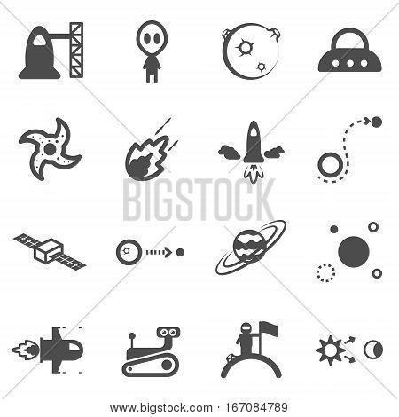 space universe star flat icon set vector