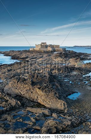 Rocky way to national fort building in Saint-Malo, Bretagne France