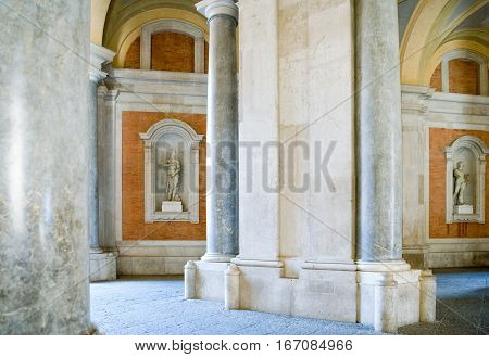 Caserta, Italy - March 9,2008: The entrance porch of the Royal Palace detail
