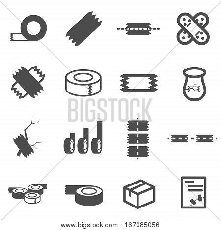 tape pack fix broke icon set vector