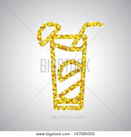 Vector illustration of golden cocktail flat icon design. Bloody mary