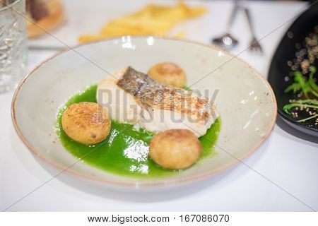 Fish Hake With Green Sauce And Potatoes