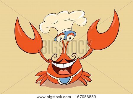 chef crab wearing mustache toque and cooking apron welcome you with smile