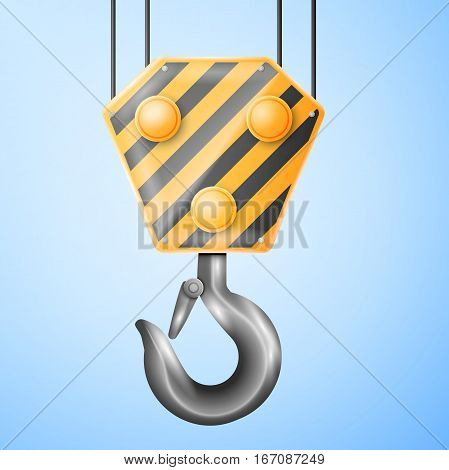 Black and yellow cranes hooks isolated on light background