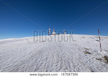 landscape of snow mountain summit named Bola del Mundo World Ball in Navacerrada Sierra de Guadarrama National Park Madrid Spain Europe