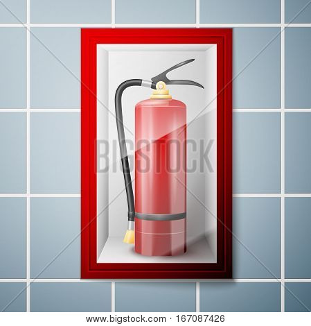 Red Fire extinguisher on Wall. Vector illustration, EPS 10