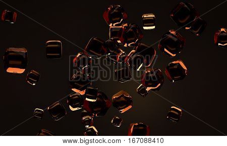 abstract glass cubes whisky color 3d render crystal