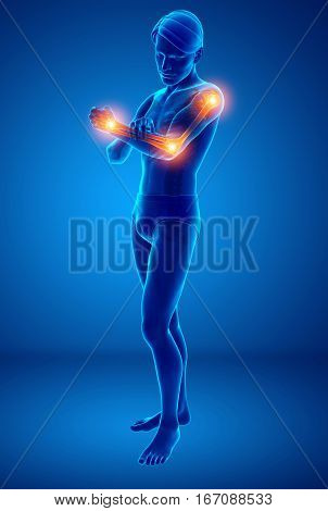 Men Feeling Arm Joint Pain