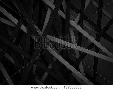abstract dark black gray stripe line random background 3d render