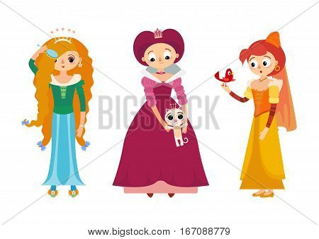 Set of fairytale princess in medieval dress