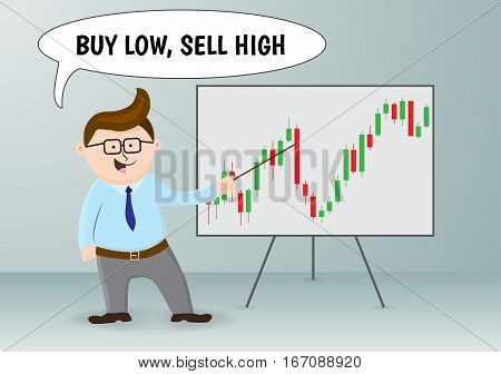Businessman and stock exchange rules. Vector illustration.