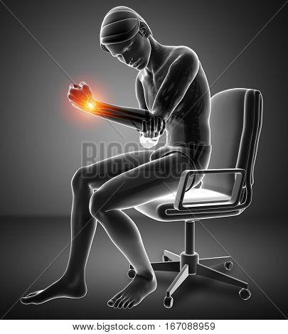 Men Feeling Elbow Pain