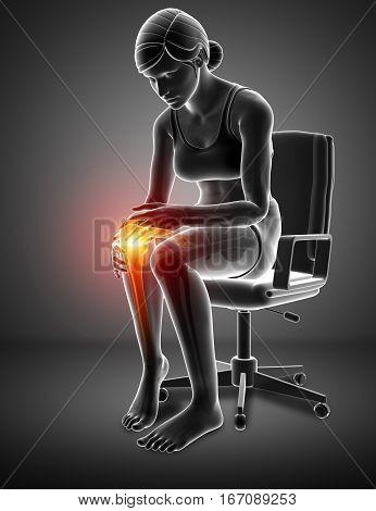 3d Illustration of Women feeling Knee pain