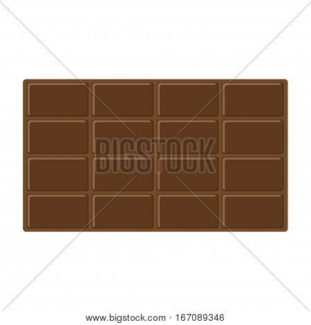 Chocolate bar icon. Tasty sweet food Milk dark dessert. Rectangle shape horysontal piece. Modern simple style. Flat design. White background. Isolated. Vector illustration