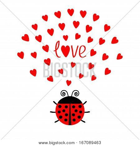 Red round lady bug insect with hearts. Cute cartoon character. Word Love Greeting card. Happy Valentines Day. White background. Flat design. Vector illustration