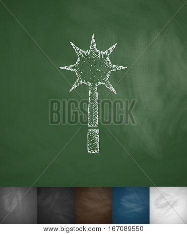 mace icon. Hand drawn vector illustration. Chalkboard Design