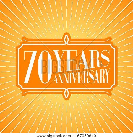 70 years anniversary vector icon logo. Graphic design element for 70th anniversary birthday greeting card