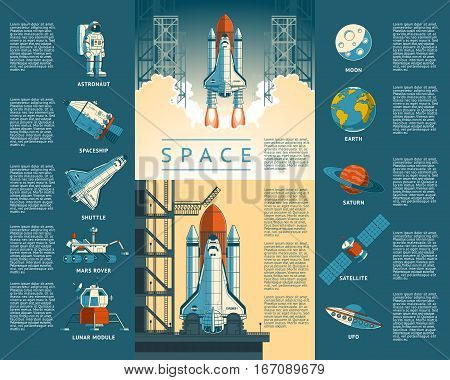 Large collection of icons of space. Vector illustration of a flat style rocket takes off