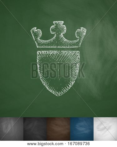 coat of arms icon. Hand drawn vector illustration. Chalkboard Design