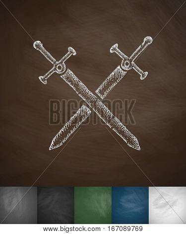 swords knight icon. Hand drawn vector illustration. Chalkboard Design