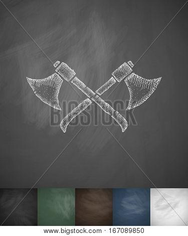 axes icon. Hand drawn vector illustration. Chalkboard Design