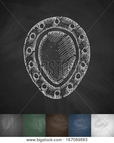 shield icon. Hand drawn vector illustration. Chalkboard Design