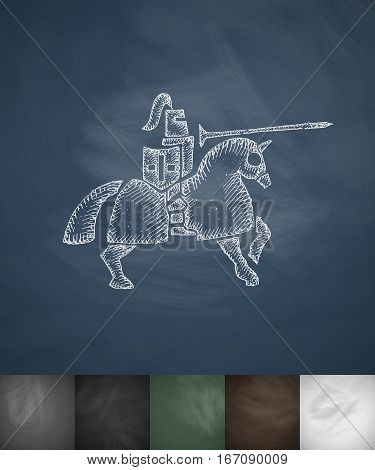 knight on horse icon. Hand drawn vector illustration. Chalkboard Design