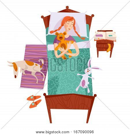 Sleeping little girl in a bed with a teddy bear and a toy hare. Sleeping dog on a rug. Nursery room. Vector illustration