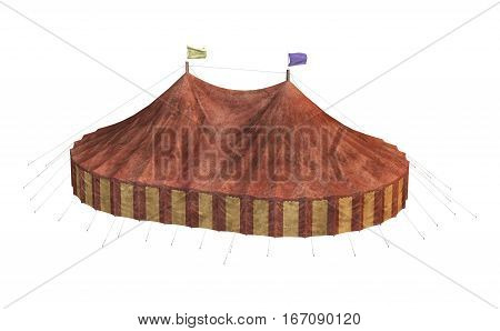3D rendering of a carnival big tent isolated on white background