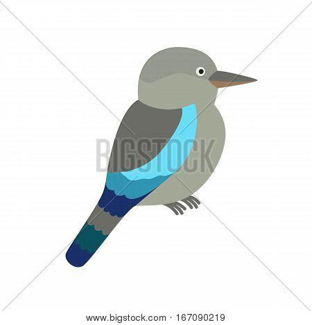 Kookaburra blue bird. vector illustration for children. isolated on white background