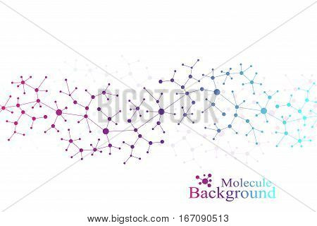 Modern Structure Molecule DNA. Atom. Molecule and communication background for medicine, science, technology, chemistry. Medical scientific backdrop. Lines plexus. Card surface, vector illustration