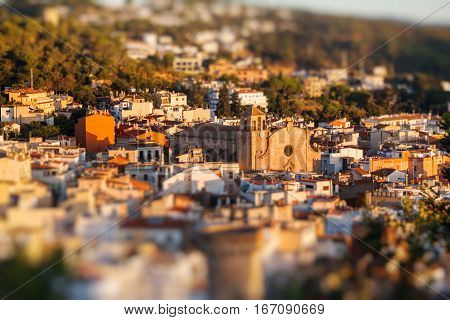 View on the old houses of Tossa de Mar Catalonia Spain. Miniature tilt shift lens effect.